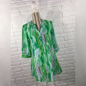 5/$25 Peppermint Bay | Green Abstract Tunic
